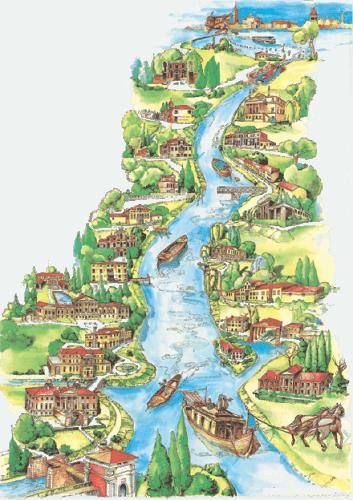 Disegno con il percorso del Burchiello che collega Padova a Venezia